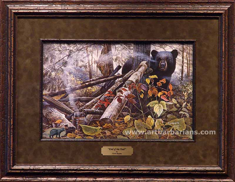 """End of the Trail Bear Print By Chris Kuehn Signed  24/"""" x 16/"""""""