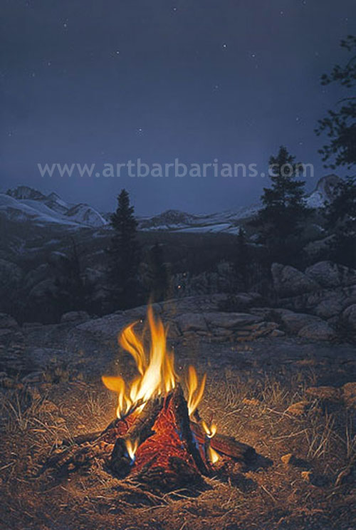 Mountain Campfire By Stephen LymanCampfire Painting