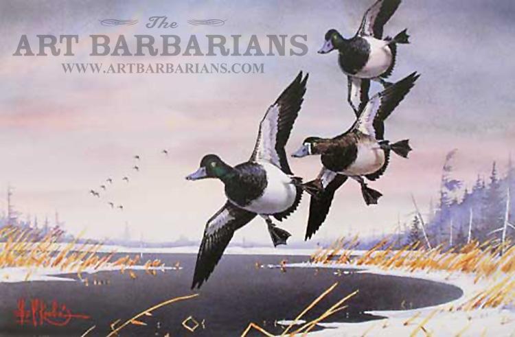 "Les Kouba November Bills Duck Art Print  Signed and Numbered 12/"" x 8/"""