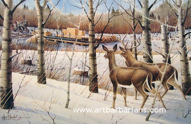 Out at THE OLD SAW RIG deer print BY LES KOUBA
